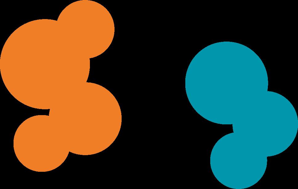 Links: Vier transparente orangene Kreise. Rechts: Drei transparente blaue Kreise