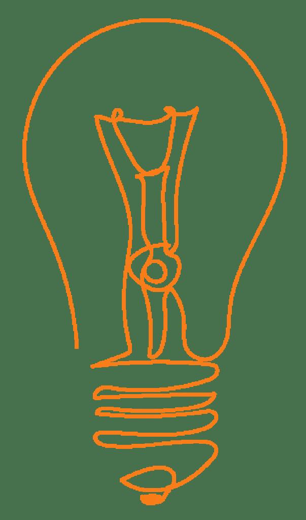 Stilisierte Zeichnung: Glühbirne - orange