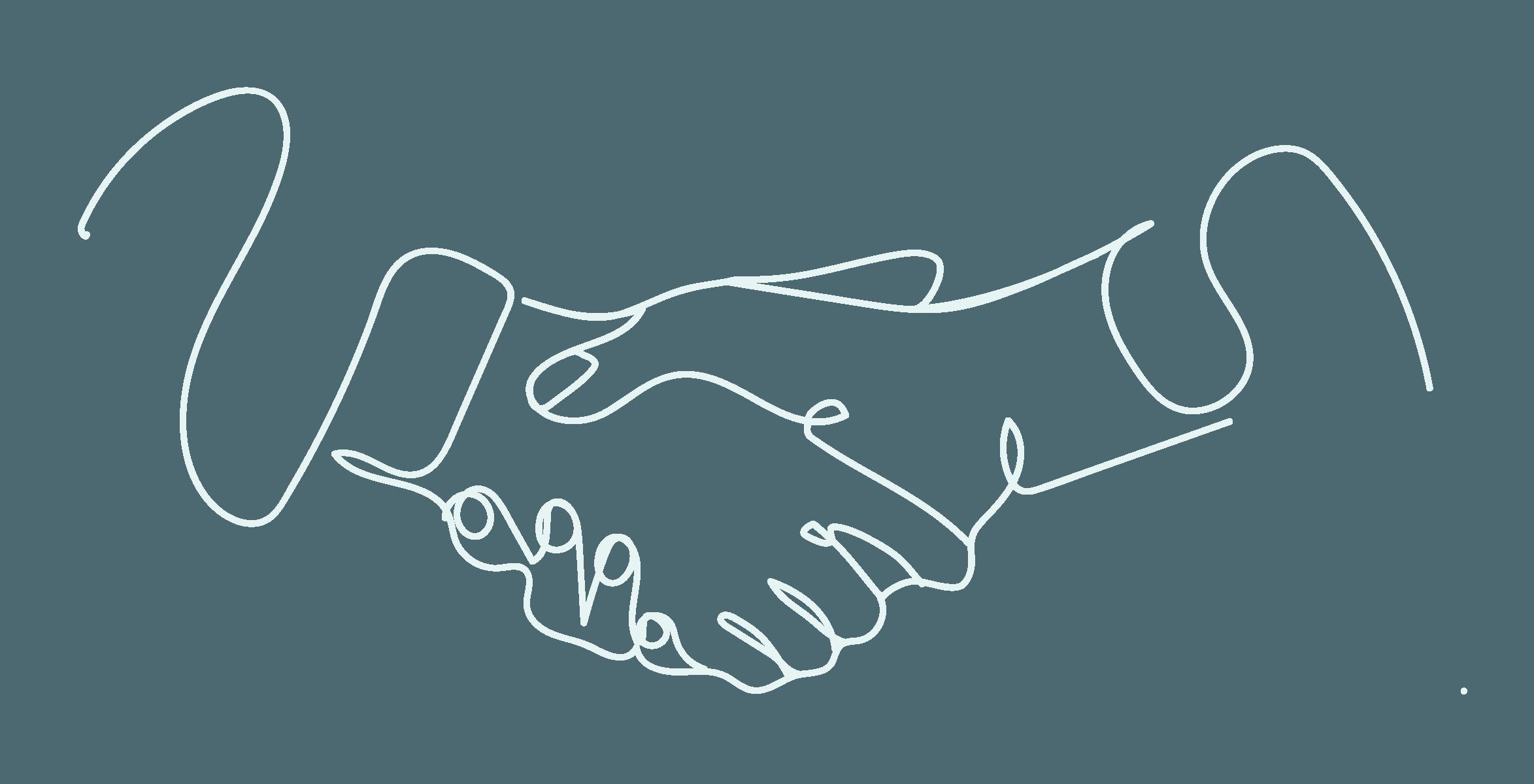 Stilisierte Zeichnung: sich die Hände geben