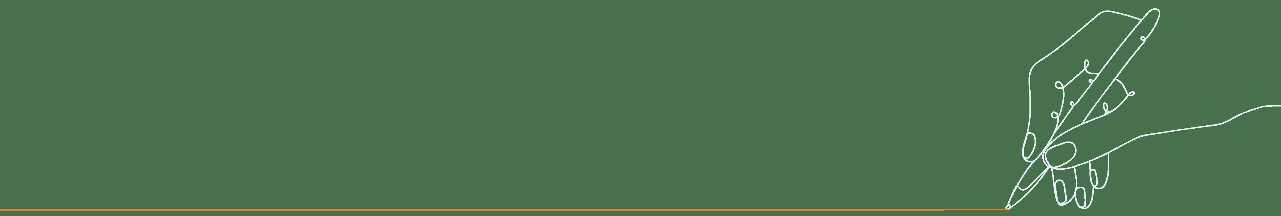 Stilisierte Zeichnung: Stift zieht orangene Linie
